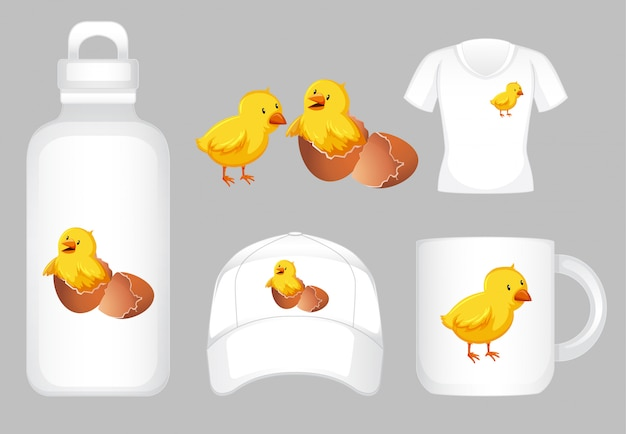 On different products with little chicks