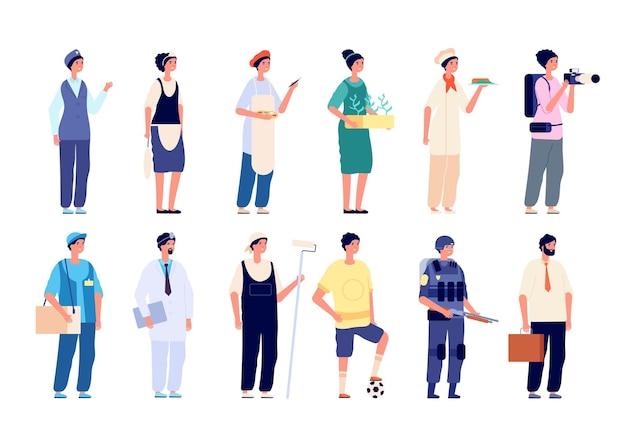 さまざまな専門家。グループ労働者、制服を着た従業員。多様な業界でのビジネスマンのキャリアは、文字をベクトルします。職業プロのキャラクター、労働者のキャリアイラスト