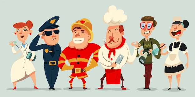 Different professions cartoon set. doctor, policeman, cook, fireman, maid and professional photographer or paparazzi. people character isolated on background.