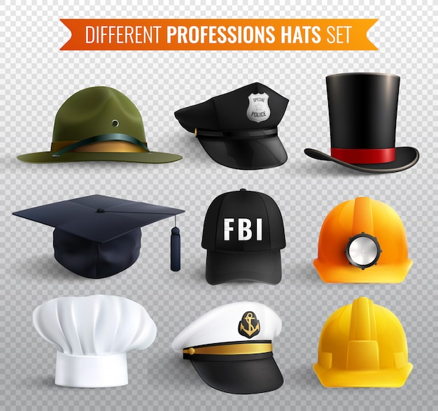 Different professions hats collection with nine realistic uniform headgear items with shadows
