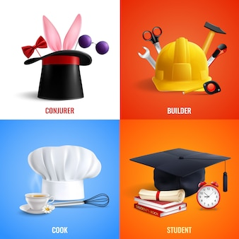 Different professions hats concept illustration
