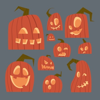 Different pumpkins faces set happy halloween traditional symbol jack lanterns collection