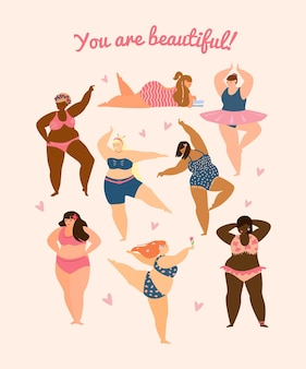 さまざまな人種に加えて、水着を着て踊るサイズの女性。ボディポジティブコンセプト。はがき。フラットベクトルイラスト。