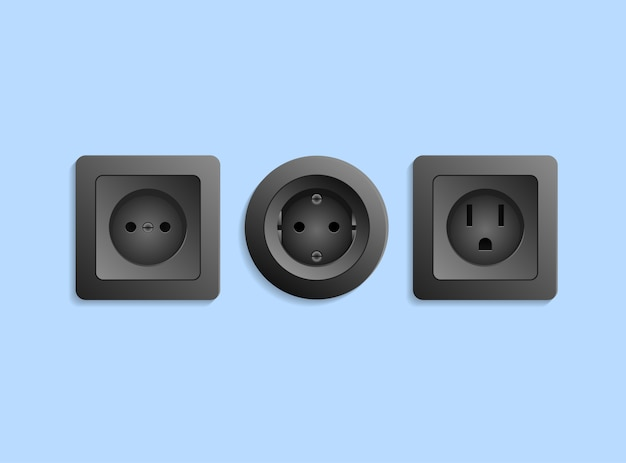 Different realistic black electric outlets