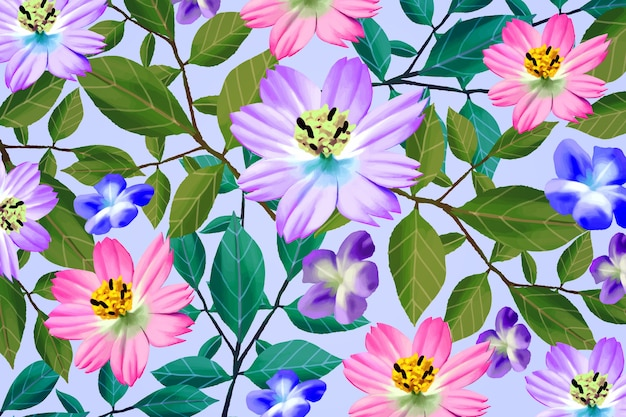 Different realistic colourful flowers background