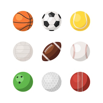 Different realistic sport ball for team competition game set. basketball, soccer and american football, baseball, volleyball, golf, bowling equipment vector illustration isolated on white background