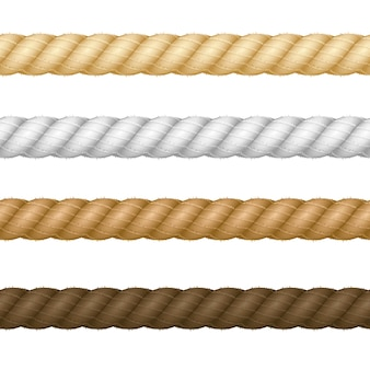 Different realistic thickness rope set isolated on a light background. vector illustration