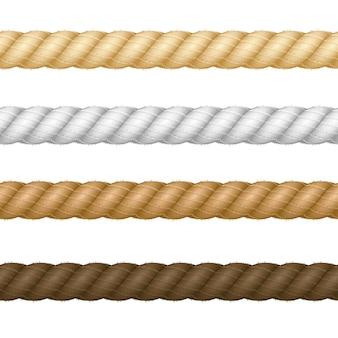 Набор веревки различной реалистической толщины, изолированные на светлом фоне. векторная иллюстрация