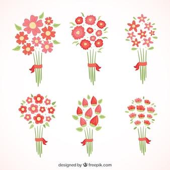Различные красные цветы в стиле минимализма