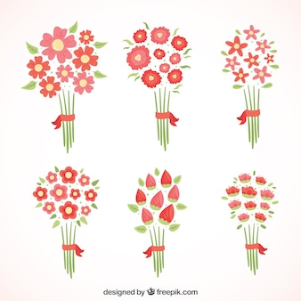 Different red flowers in minimalist style