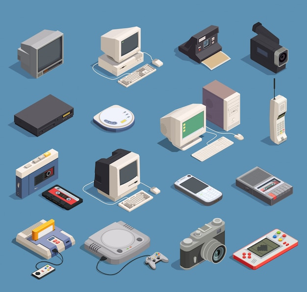 Different retro gadgets isometric icons set with computer player recorder console phone camera 3d isolated