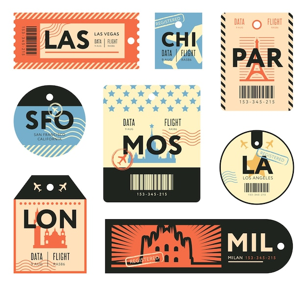 Different retro tickets for travelers flat stamps set. colorful baggage tags and luggage airplane stickers vector illustration collection. trip and design template