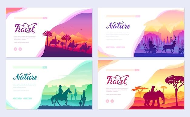 Набор карт брошюры различных всадников мира. красочный пейзажный шаблон flyear, войдите на сайт.