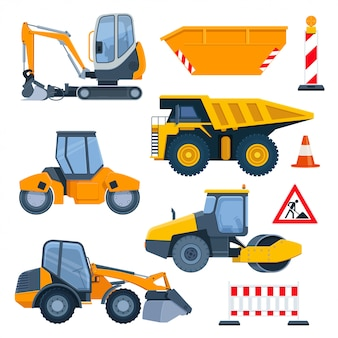Different road construction machines and equipment
