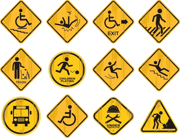 Different road signs icons set.