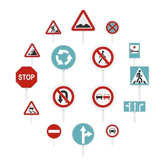 Different road signs set flat icons