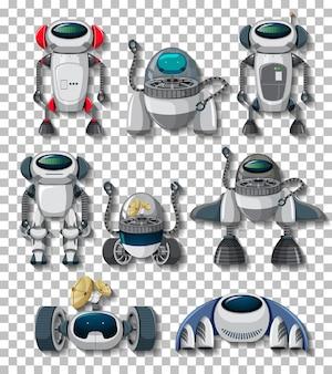 透明な背景上のさまざまなロボット