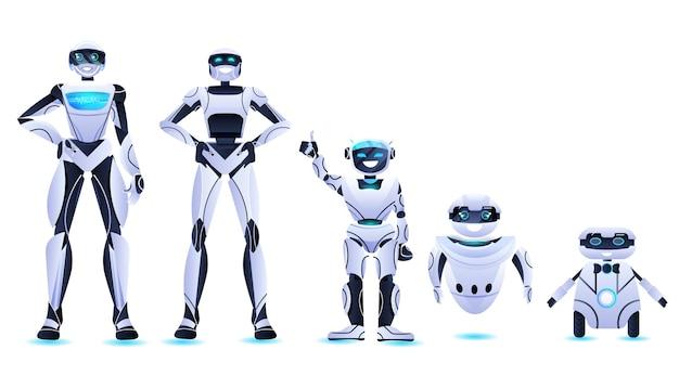 Разные роботы, стоящие вместе, современная роботизированная команда персонажей