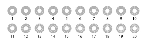 Different round graphic pie charts gray set. vector round 20 section. segmented circles set isolated on a white background.