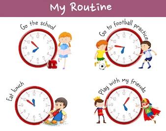 Различные процедуры на плакате с детьми и мероприятия