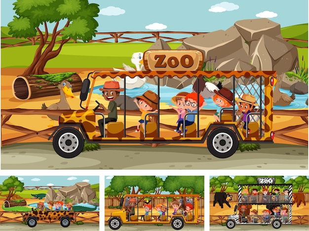 Различные сцены сафари с животными и персонажами мультфильмов детей