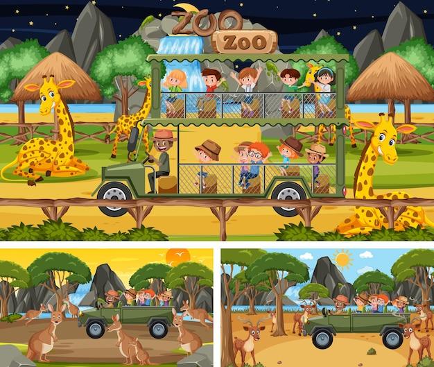 동물과 어린이 만화 캐릭터와 함께 다른 사파리 장면
