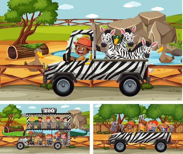 動物と子供の漫画のキャラクターとのさまざまなサファリシーン