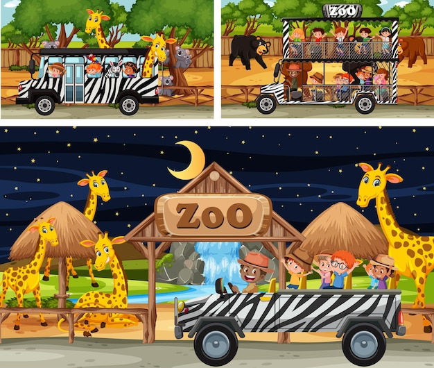 Different safari scenes with animals and kids cartoon character