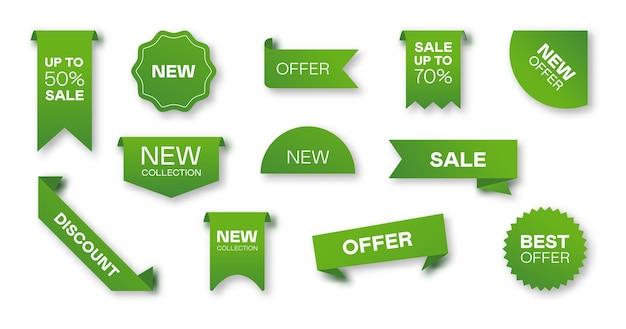 다른 판매 녹색 리본 플랫 아이콘 세트입니다. 가격 배지, 특별 제공 레이블 및 할인 스티커 격리 된 벡터 일러스트 컬렉션. 프로모션 템플릿 및 디자인 요소