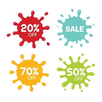 Different sale tags isolated on white. blot concept
