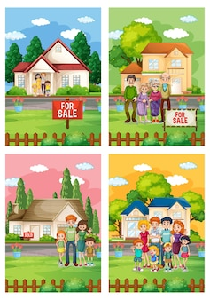 Different scenes of family standing in front of a house for sale illustrations set