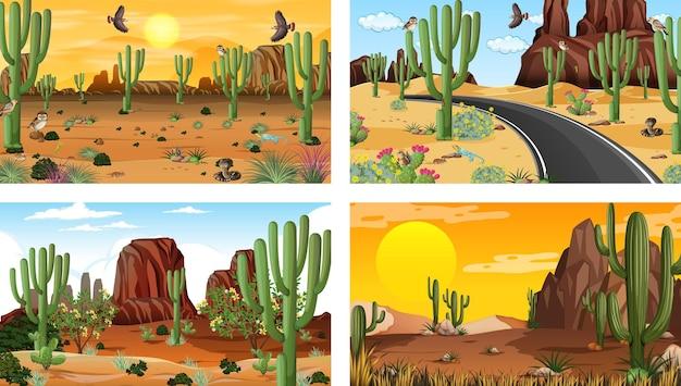 동물과 식물이있는 사막의 숲 풍경과 다른 장면