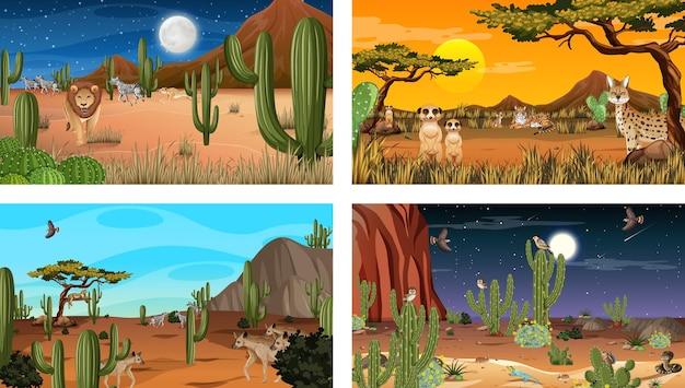 Различные сцены с пустынным лесным пейзажем с животными и растениями