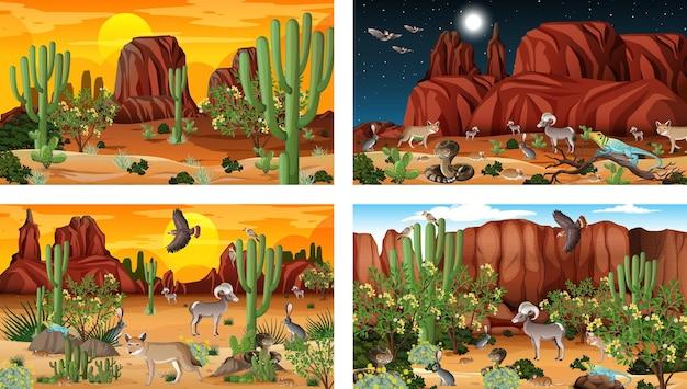 동물과 식물이 있는 사막 숲 풍경이 있는 다양한 장면 무료 벡터