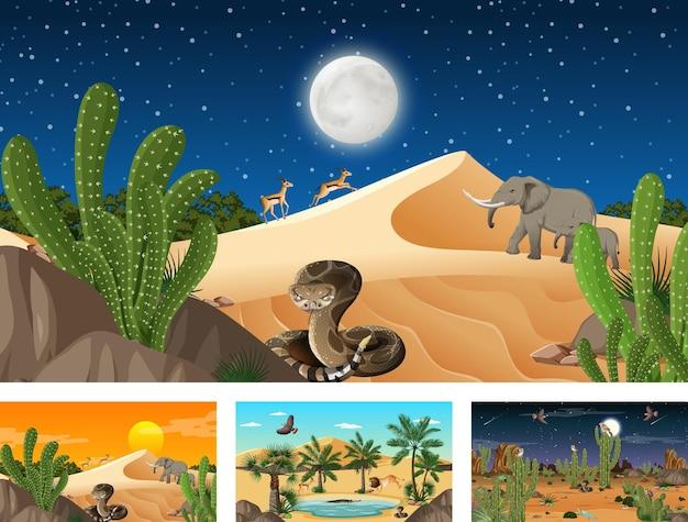 동물과 식물이 있는 사막 숲 풍경이 있는 다양한 장면
