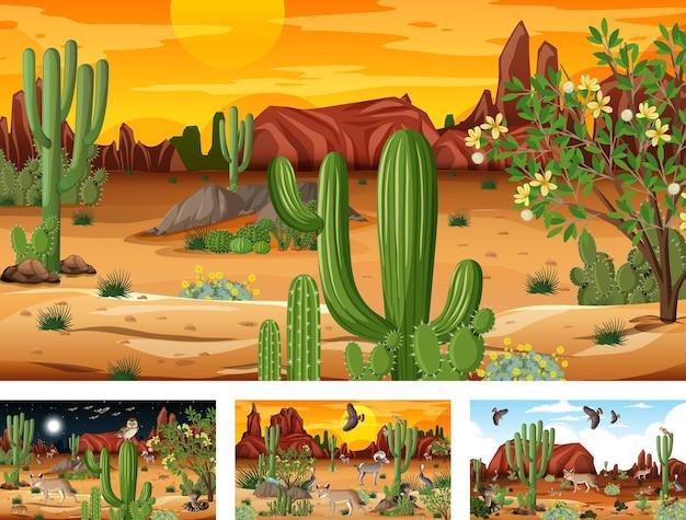 Diverse scene con paesaggi forestali desertici con animali e piante Vettore gratuito