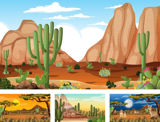 Different scenes with desert forest landscape with animals and plants