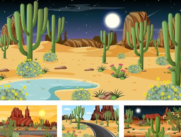 Различные сцены с пустынным лесным ландшафтом с различными пустынными растениями