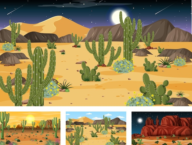 Different scenes with desert forest landscape with various desert plants