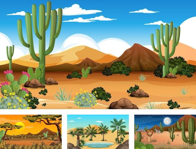다양한 사막 식물이 있는 사막 숲 풍경이 있는 다양한 장면