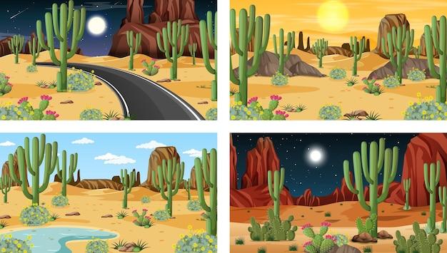 砂漠の森の風景とさまざまなシーン