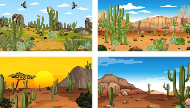 Different scenes with desert forest landscape