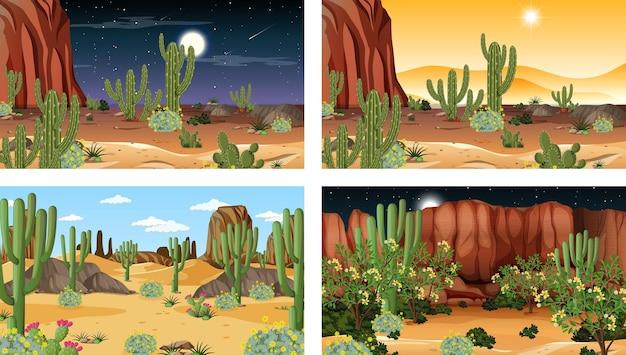 Diverse scene con il paesaggio della foresta del deserto