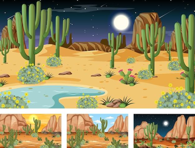 Различные сцены с пейзажем пустынного леса