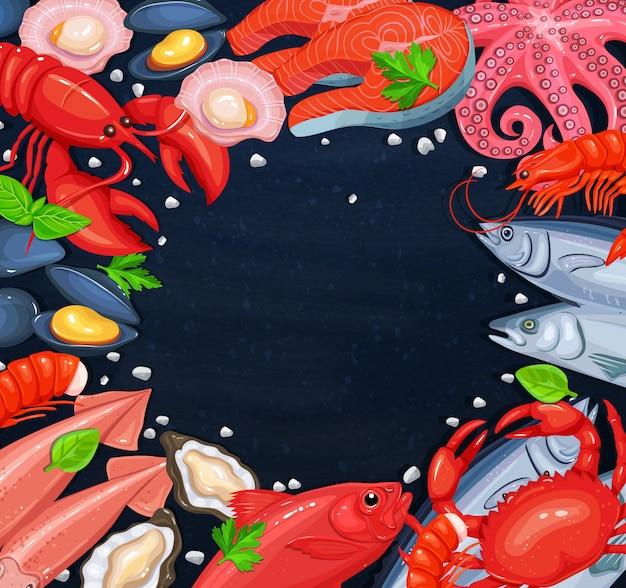 Разные морепродукты и пустой круг
