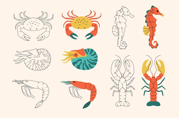 Different seafood  in outline and flat design