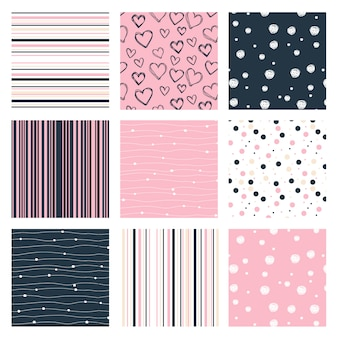 Different seamless patterns made with pink and blue
