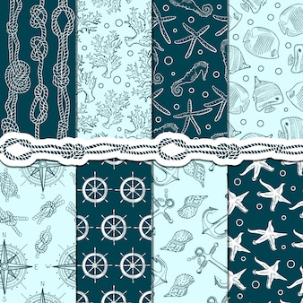 Different seamless patterns set of marine and nautical elements.