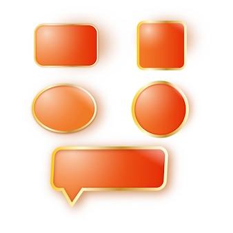 オレンジ色と金色の光沢のあるボタン要素の異なる形状。