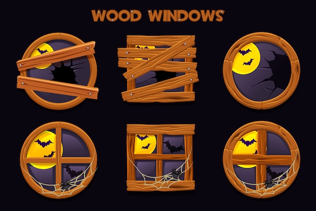 Different shape and old shattered wood windows, cartoon building objects with cobwebs and full moon. element home interiors